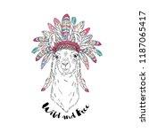 american indian llama in war... | Shutterstock .eps vector #1187065417