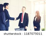 successful negotiating business ... | Shutterstock . vector #1187075011