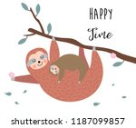hand drawn cute card with sloth ...   Shutterstock .eps vector #1187099857
