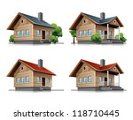 four detailed wooden cottages... | Shutterstock .eps vector #118710445
