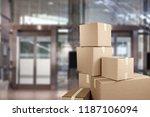 boxes in empty room | Shutterstock . vector #1187106094