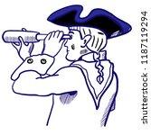 brave captain in tricorn hat ... | Shutterstock .eps vector #1187119294