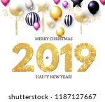 happy new 2019 year  shining... | Shutterstock .eps vector #1187127667