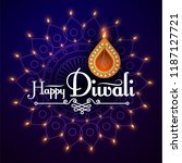 happy diwali. traditional... | Shutterstock .eps vector #1187127721
