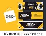 black friday horizontal... | Shutterstock .eps vector #1187146444