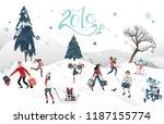 vector 2019 new year  christmas ... | Shutterstock .eps vector #1187155774