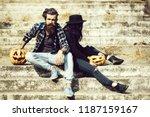 young halloween couple of... | Shutterstock . vector #1187159167