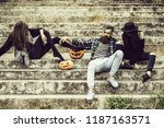 young halloween bearded man... | Shutterstock . vector #1187163571