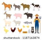 farm animals set with farmer... | Shutterstock .eps vector #1187163874