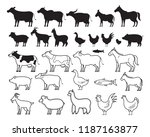 farm animals silhouette and... | Shutterstock .eps vector #1187163877
