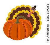funny peligrimm with a pumpkin... | Shutterstock .eps vector #1187169361