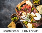 antipasto board with sliced... | Shutterstock . vector #1187170984