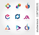 abstract colorful logo set sign ...   Shutterstock .eps vector #1187183131