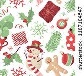 vector seamless christmas... | Shutterstock .eps vector #1187184547