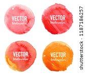 watercolour circle set on white ... | Shutterstock .eps vector #1187186257