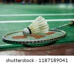 White badminton shuttlecock and ...