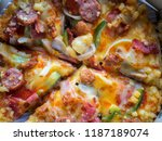 top view of pizza in a delivery ... | Shutterstock . vector #1187189074