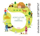 farmer  agriculture and farming ... | Shutterstock .eps vector #1187189767