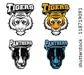tiger and panther head in vector   Shutterstock .eps vector #118719091