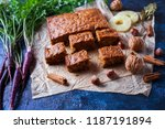 carrot cake with pineapple nuts ... | Shutterstock . vector #1187191894