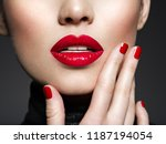 closeup sexy female lips with... | Shutterstock . vector #1187194054