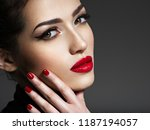 closeup portrait of beautiful... | Shutterstock . vector #1187194057
