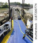 arrival and unloading car ferry ... | Shutterstock . vector #1187200774