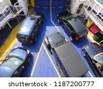 arrival and unloading car ferry ... | Shutterstock . vector #1187200777