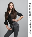 young woman with long straight... | Shutterstock . vector #1187202094