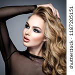 closeup face of a beautiful... | Shutterstock . vector #1187205151