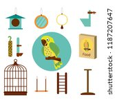 set icon parrot with cage  food ... | Shutterstock .eps vector #1187207647