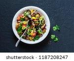 roasted eggplant  sweet tomato...   Shutterstock . vector #1187208247