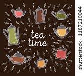 tea time doodle banner with set ... | Shutterstock .eps vector #1187210044