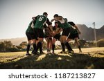 rugby team putting their hands... | Shutterstock . vector #1187213827