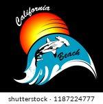 california beach wave and shark | Shutterstock .eps vector #1187224777