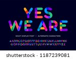 colorful font. colorful bright... | Shutterstock .eps vector #1187239081