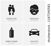 set of 4 editable family icons. ...
