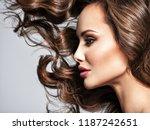 beautiful  woman with long... | Shutterstock . vector #1187242651