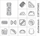 set of 13 snack outline icons... | Shutterstock .eps vector #1187245681