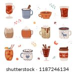 vector collection of hot drinks.... | Shutterstock .eps vector #1187246134