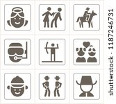 set of 9 people filled icons... | Shutterstock .eps vector #1187246731