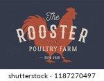 Rooster  Poultry. Vintage Logo...