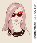 beautiful fashion woman in glasses vector illustration eps 10 - stock vector