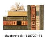 Old Book Shelf Isolated On...
