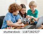 curious kids building a robot... | Shutterstock . vector #1187282527