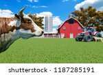 farm scene with red barn and... | Shutterstock . vector #1187285191