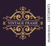 vector monogram. vintage art... | Shutterstock .eps vector #1187285671