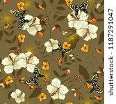 retro wild seamless flower... | Shutterstock .eps vector #1187291047
