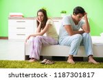 woman and man in the bedroom... | Shutterstock . vector #1187301817