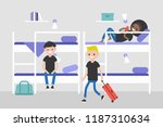 dorm room. hostel furniture.... | Shutterstock .eps vector #1187310634